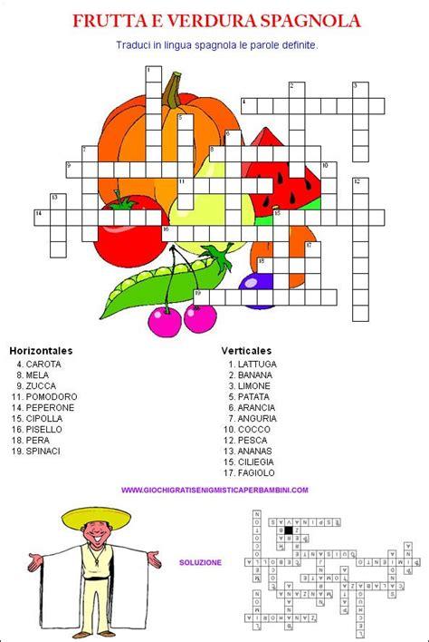 dia trasporto alimenti cruciverba in spagnolo sulla frutta e sulla verdura