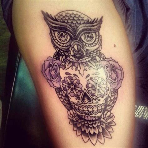 owl and skull tattoo designs owl and sugar skull tattoos