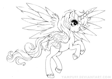 Alicorn Coloring Pages alicorn commission lineart by yuff on deviantart
