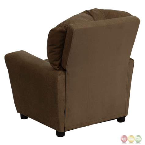 child recliner chairs contemporary brown microfiber kids recliner with cup