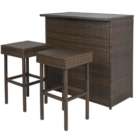 Patio Bar Table Set 3pc Wicker Bar Set Patio Outdoor Backyard Table 2 Stools Rattan Garden Furniture Outdoor