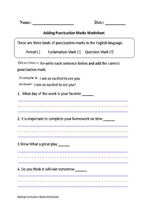 englishlinx punctuation worksheets