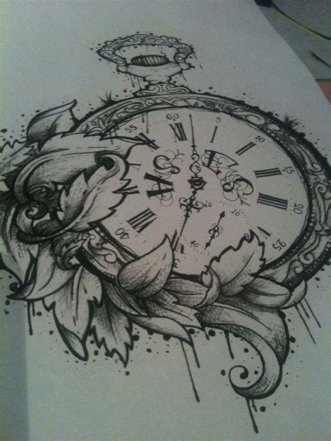 old clock tattoo designs pocket drawings images things