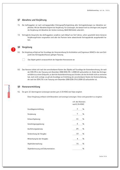 Angebot Nach Hoai Muster Architektenvertrag Gem 228 223 Aktueller Hoai Muster Zum