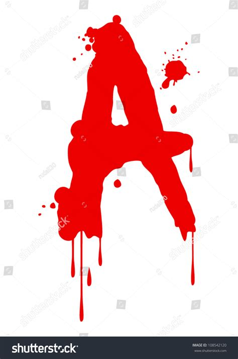 Letter With Blood Paint Font Type Letter A Stock Vector Illustration 108542120
