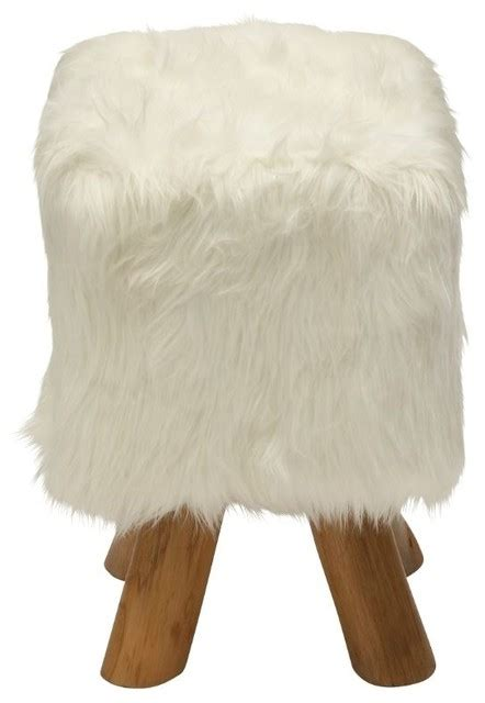 white faux fur ottoman wood and faux fur square stool white eclectic