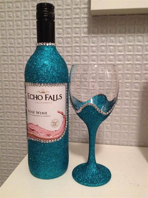 blue diamante wave glitter frosted wine glass bottle gift set