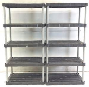 2 rubbermaid plastic shelving units