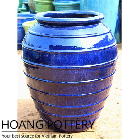 glazed ceramic pots rings pattern blue glazed ceramic pots hptr004