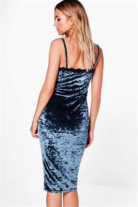 Lace Trim Velvet Slip Dress boohoo womens tammy crushed velvet lace trim slip dress ebay