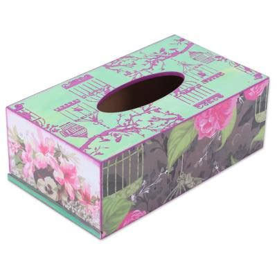 Tempat Tissue Decoupage Pink wood tissue box cover with decoupage motif of pink flowers