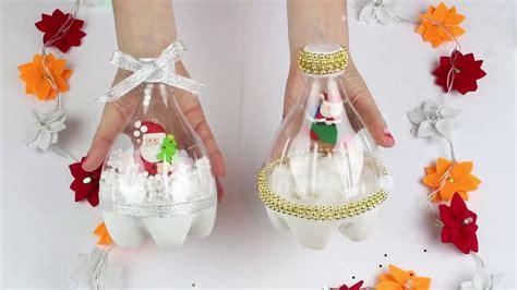 como decorar botellas de vidrio navideñas paso a paso decoracion navidea reciclada con botellas de plastico t