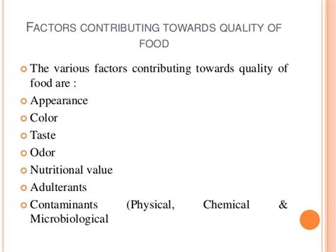 quality food food quality parameters
