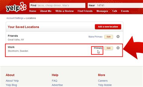Find On Yelp How To Make A Saved Location A Primary Default Search
