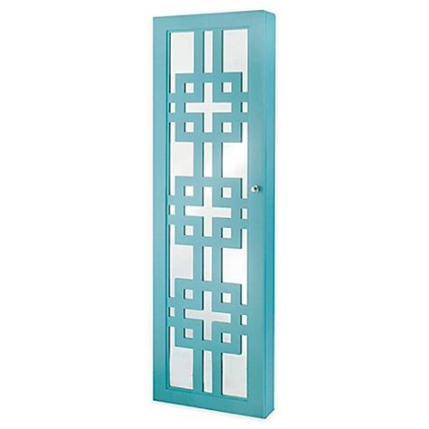 decorative armoires buy deluxe designer jewelry armoire with decorative mirror in turquoise from bed bath