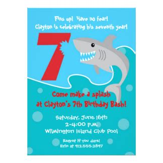 sle invitation card for 7th birthday shark invitations announcements zazzle