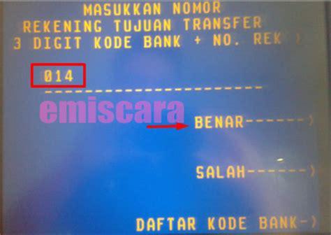 bca kode bank bagaimana cara transfer uang via atm mandiri ke bca