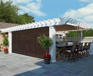 Pergola Screens by Custom Pergola With Drop Screen Wood Pergolas Solid