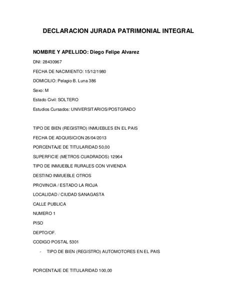 fechas de presentacion de declaracion juradas la declaraci 243 n jurada de felipe 193 lvarez