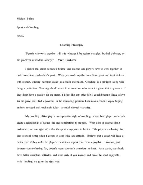 Coach Essay by Coaching Philosophy Paper