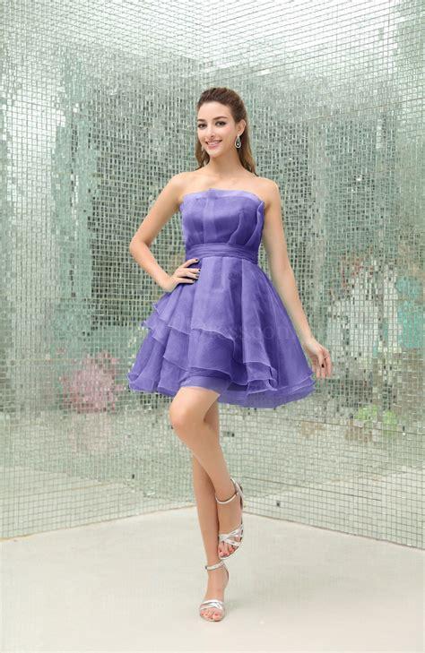 purple opulence simple a line strapless sleeveless organza