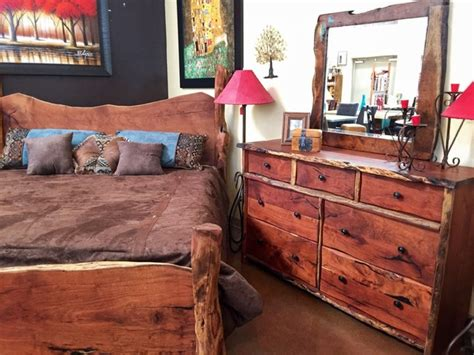 southwest style bedroom furniture freeform style mesquite wood bedroom set