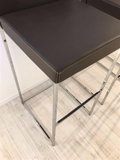 sgabelli calligaris calligaris 3 sgabelli alti in vera pelle marrone sedie a