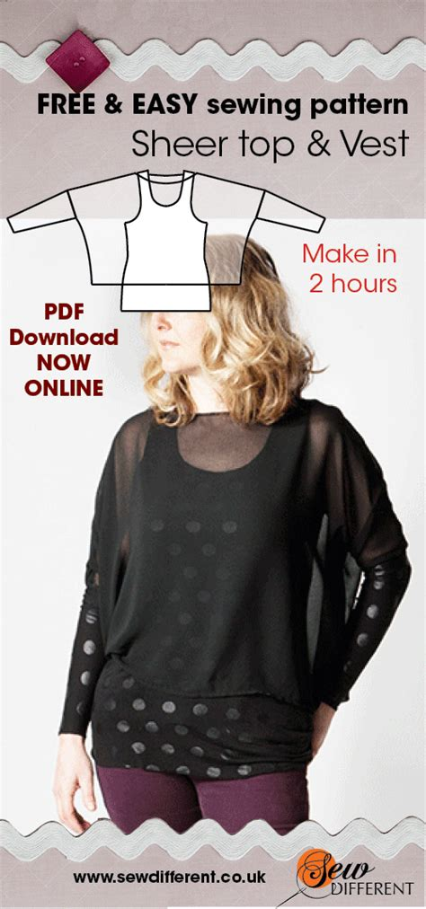 sewing pattern vest top sheer top and vest free sewing pattern