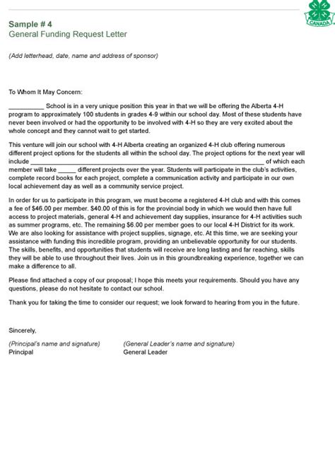 Letter Asking For Funding Alberta 4 H School Based 4 H Clubs