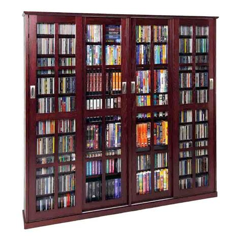 multimedia storage cabinet leslie dame glass 4 door multimedia storage cabinet cherry ms 1400dc