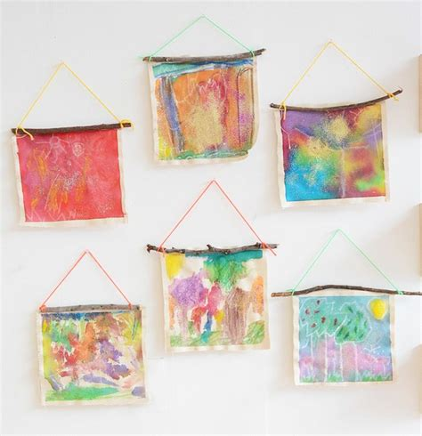 hanging kids artwork 1000 images about nature art daisy scouts program on