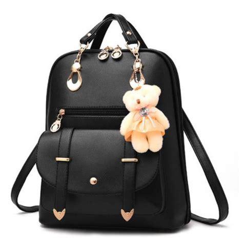 Tas Ransel Mini Boneka tas ransel wanita dengan boneka beruang black