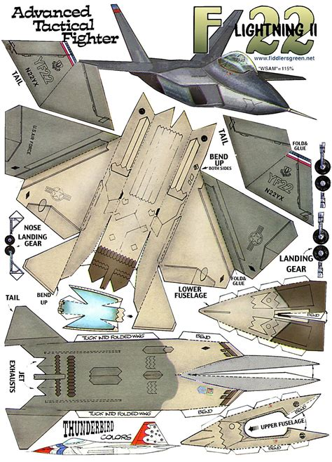 Airplane Papercraft - f 16 paper airplane templates crafts
