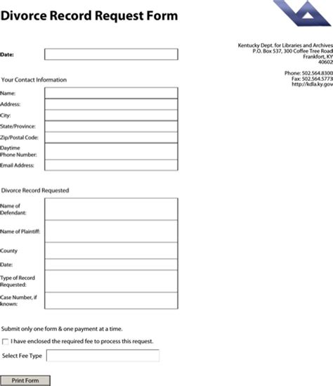 Kentucky Records Free Kentucky Divorce Papers For Free Formtemplate