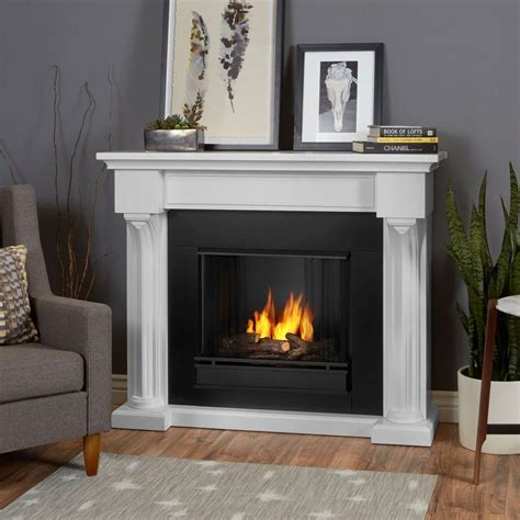 real verona 48 in ventless gel fireplace in white