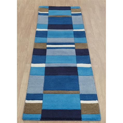 jazz rug blue jazz blocks wool rug carpet runners uk