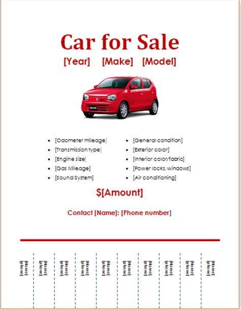 car for sale template 10 ms word editable printable flyer templates word