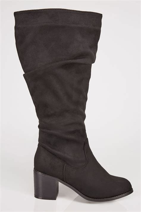German Email Address Finder Black Ruched Knee High Block Heel Boots With Xl Calf Fitting In True Eee Fit Sizes