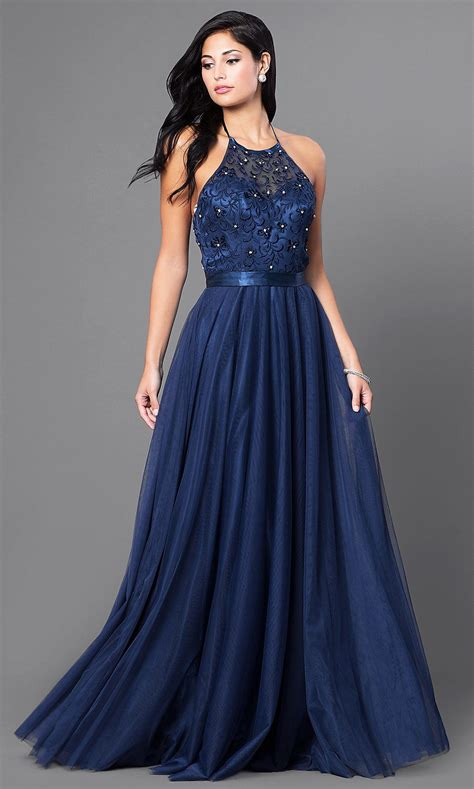 Dress Aliza Navy embroidered elizabeth k halter dress promgirl