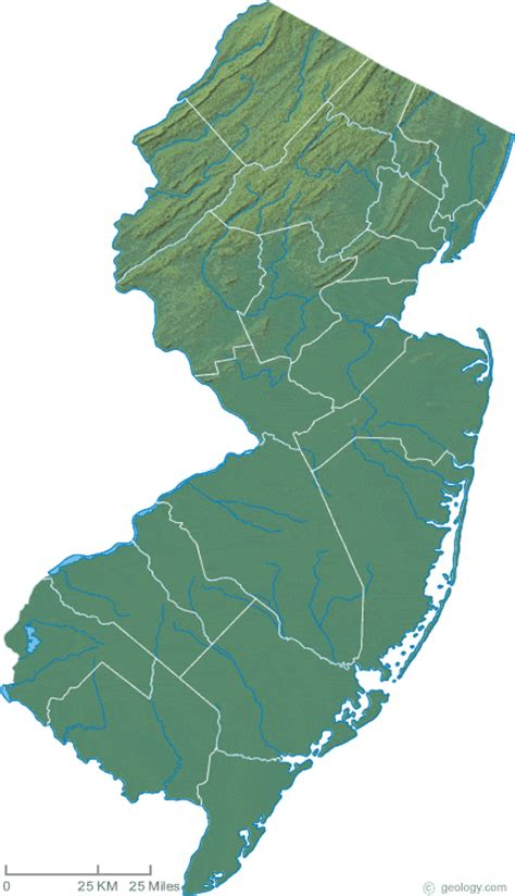 physical map of new jersey new jersey physical map and new jersey topographic map