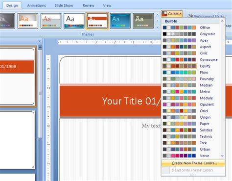 how to create themes for powerpoint 2007 change a color in a standard color theme theme color
