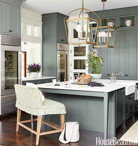 green kitchen cabinets cottage kitchen sherwin williams retreat house beautiful