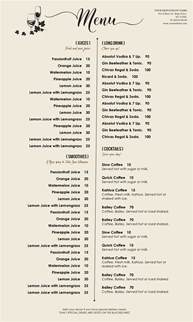 drink menu template microsoft word design templates menu templates wedding menu food