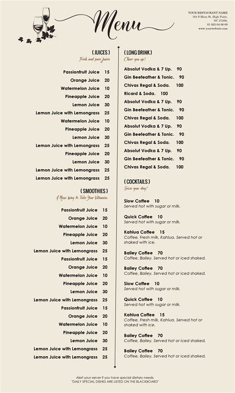 cafe menu template word design templates menu templates wedding menu food