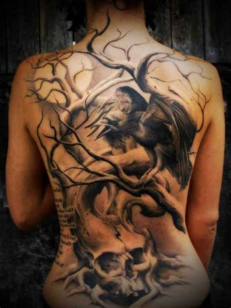 tattoo at back design tree bird and skull tattoo on back tattooshunt com