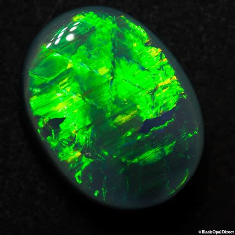 Opal Green 5 60 ct semi black opal green gem 14x11x5mm black opal