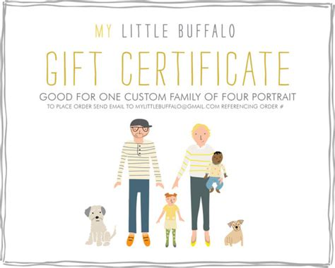 gift for family gift certificate for a custom family portrait family of four