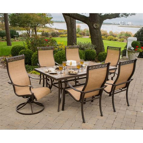 furniture patio outdoor shop hanover outdoor furniture monaco 7 piece tan metal