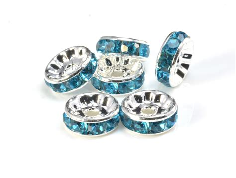 bead supplies rhinestone copper spacer bead silver plated aqua blue