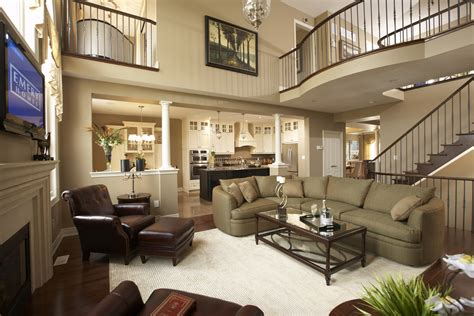 family room ceiling fans rustic open kitchen  living